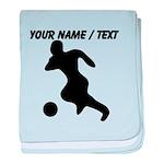 Custom Soccer Player Silhouette baby blanket