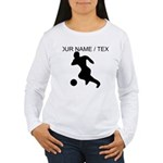 Custom Soccer Player Silhouette Long Sleeve T-Shir