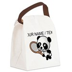 Custom Panda Tennis Player Canvas Lunch Bag