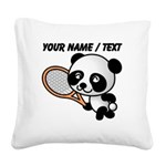 Custom Panda Tennis Player Square Canvas Pillow