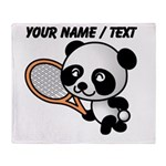 Custom Panda Tennis Player Throw Blanket