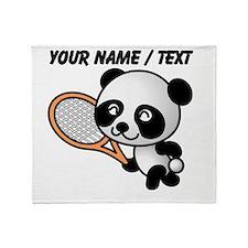 Custom Panda Tennis Player Throw Blanket