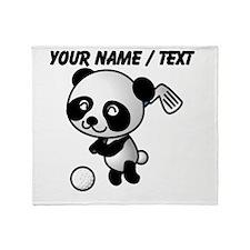 Custom Panda Golfer Throw Blanket