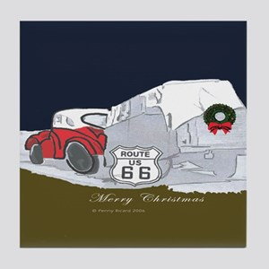 Route 66 Christmas Tile Coaster