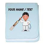 Custom Cricket Player baby blanket