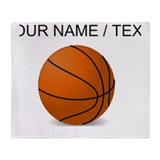 Custom Orange Basketball Throw Blanket