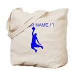 Custom Blue Basketball Dunk Silhouette Tote Bag
