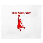 Custom Red Basketball Dunk Silhouette King Duvet