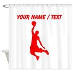 Custom Red Basketball Dunk Silhouette Shower Curta