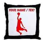 Custom Red Basketball Dunk Silhouette Throw Pillow