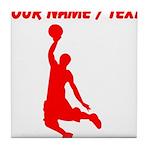 Custom Red Basketball Dunk Silhouette Tile Coaster