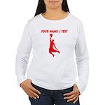 Custom Red Basketball Dunk Silhouette Long Sleeve