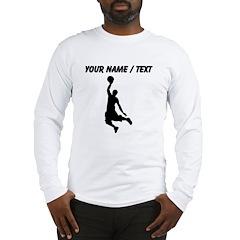 Custom Black Basketball Dunk Silhouette Long Sleev