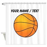 Custom Orange Basketball Shower Curtain