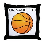 Custom Orange Basketball Throw Pillow