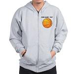 Custom Orange Basketball Zip Hoodie