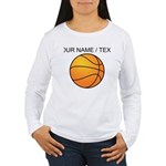 Custom Orange Basketball Long Sleeve T-Shirt