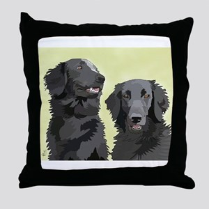 2 flatcoats Throw Pillow