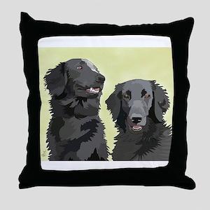 2 flatcoats Throw Pillow