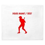 Custom Red Baseball Batter King Duvet