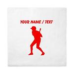 Custom Red Baseball Batter Queen Duvet
