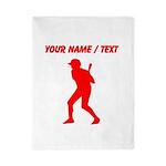 Custom Red Baseball Batter Twin Duvet