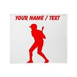 Custom Red Baseball Batter Throw Blanket