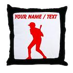 Custom Red Baseball Batter Throw Pillow