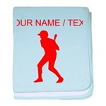 Custom Red Baseball Batter baby blanket