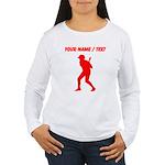 Custom Red Baseball Batter Long Sleeve T-Shirt