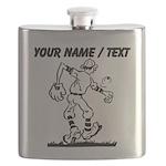Custom Old School Cartoon Baseball Player Flask