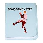 Custom Retro Baseball Pitcher baby blanket