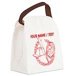 Custom Red Baseball Icon Canvas Lunch Bag