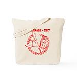 Custom Red Baseball Icon Tote Bag
