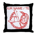 Custom Red Baseball Icon Throw Pillow