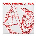 Custom Red Baseball Icon Tile Coaster