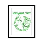 Custom Green Baseball Icon Framed Panel Print