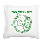 Custom Green Baseball Icon Square Canvas Pillow