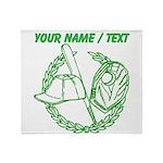 Custom Green Baseball Icon Throw Blanket