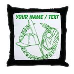 Custom Green Baseball Icon Throw Pillow