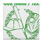 Custom Green Baseball Icon Tile Coaster