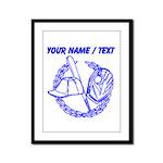 Custom Blue Baseball Icon Framed Panel Print