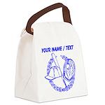 Custom Blue Baseball Icon Canvas Lunch Bag