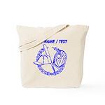 Custom Blue Baseball Icon Tote Bag