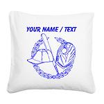 Custom Blue Baseball Icon Square Canvas Pillow