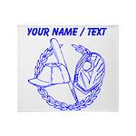 Custom Blue Baseball Icon Throw Blanket