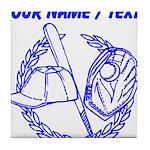 Custom Blue Baseball Icon Tile Coaster