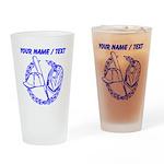 Custom Blue Baseball Icon Drinking Glass