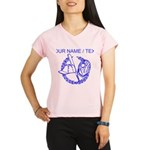 Custom Blue Baseball Icon Peformance Dry T-Shirt