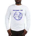 Custom Blue Baseball Icon Long Sleeve T-Shirt